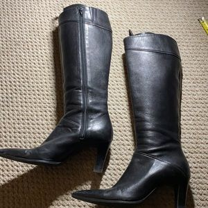 BROWNS COUTURE BLACK HEELED KNEE BOOTS